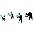 phone generations silhouette symbols vector image