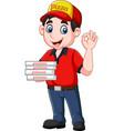 pizza deliveryman showing ok sign vector image vector image