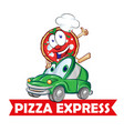 pizza express delivery car cartoon vector image vector image