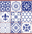 portuguese tile seamless pattern azluejo vector image vector image