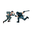 protesting man riot police with a baton vector image vector image