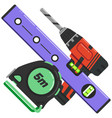 screwdriver wrench key tool icons bubble level vector image