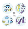 scuba diving set of elements and equipment vector image