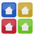 set of four square icons - house with chimney vector image vector image