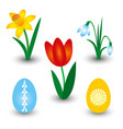 set of three spring flowers and two easter eggs vector image vector image
