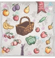 Set of vegetables and fruits with a wicker basket vector image