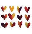 set of watercolor gradient hearts vector image vector image