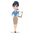 smiling business woman holding checklist vector image