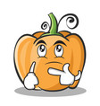 thinking pumpkin character cartoon style vector image vector image
