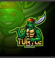 turtle esport logo mascot design vector image vector image