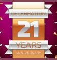 twenty one years anniversary celebration design vector image vector image