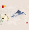 two birds on bamboo and far blue mountains vector image vector image