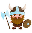 viking cartoon character with an ax and a shield vector image vector image