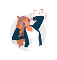 woman singing woman listening to music singing vector image vector image