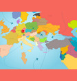 world travel concept with map of europe and color vector image vector image