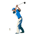men cartoon playing golf vector image