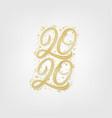 2020 golden hand written lettering numbers vector image vector image