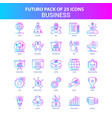 25 blue and pink futuro business icon pack vector image