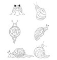 adult coloring bookpage a cute set of snails vector image