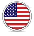 american flag button isolated on white vector image vector image