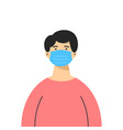 an asian man wearing a medical mask isolated vector image vector image