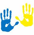blue yellow hand print vector image vector image