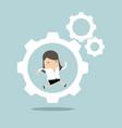 businesswoman is running in the cogwheel machine vector image vector image