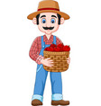 cartoon farmer holding a basket of apples vector image