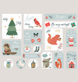 christmas set hand drawn animals and elements vector image