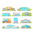 cinema or movie theater building facade icons vector image