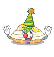 clown mascot delicious homemade lemon cake with vector image vector image