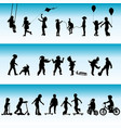 collection silhouettes children playing vector image vector image