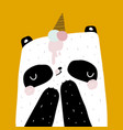 cute panda with ice cream on head in scandinavian vector image