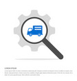 delivery truck icon search glass with gear symbol vector image