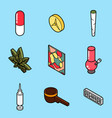 drugs flat outline isometric icons vector image
