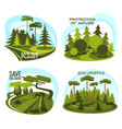 ecology environment protection icon of green tree vector image