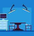 empty hospital surgery room - flat cartoon vector image