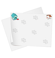 Empty stationery with animal footprints vector image vector image