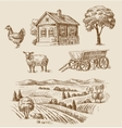 farm and animals hand drawn vector image vector image
