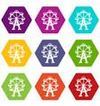 ferris wheel icon set color hexahedron vector image vector image