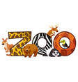 font design for word zoo vector image vector image