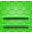 Green Shelves on Ornamental Background vector image
