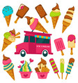 ice cream cartoon bright flavors icons on vector image