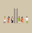 indian people group climbing career ladder new job vector image vector image