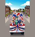 kids in a parade celebrating fourth of july vector image vector image
