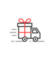 linear delivery truck with gift box vector image vector image
