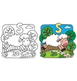 Little sheep coloring book Alphabet S vector image