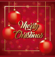 merry christmas card golden lettering and red vector image vector image