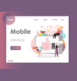 mobile website landing page design template vector image