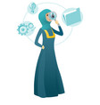 muslim business woman with magnifying glass vector image vector image